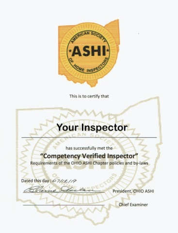 Competencty Verified Inspector Certificate